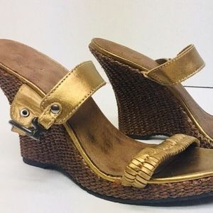 White Mountain Wedge Sandals SOFT GOLD 10 M